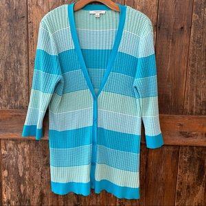 Liz Claiborne L Turquoise Striped Light Cardigan
